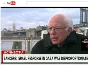 "SANDERS SAYS: Bernie Sanders has been getting a lot wrong lately about the 2014 Israel-Hamas war. Perhaps he got his ""facts"" from major news outlets at the time. [Screenshot: A recent CNN interview, in which Sanders called Israel's attacks in Gaza ""indiscriminate"""
