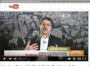 TRUTH IN NUMBERS: Jafar Farah, a source of Hadid's in Haifa, is starting with the premise that all Arabs in Israel are Palestinians. But research shows that more than one-third of Israeli Arab citizens don't feel that way. (screenshot: CCTV America video on YouTube)