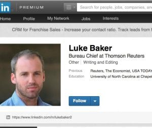 OPEN DISDAIN FOR ISRAEL?: That's the allegation against Reuters' Luke Baker. Mideast Dig will probe and analyze the issue. Baker: No comment. [screenshot: LinkedIn]